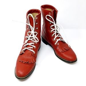 Vintage Red Leather Boots Diamond J Kiltie Western